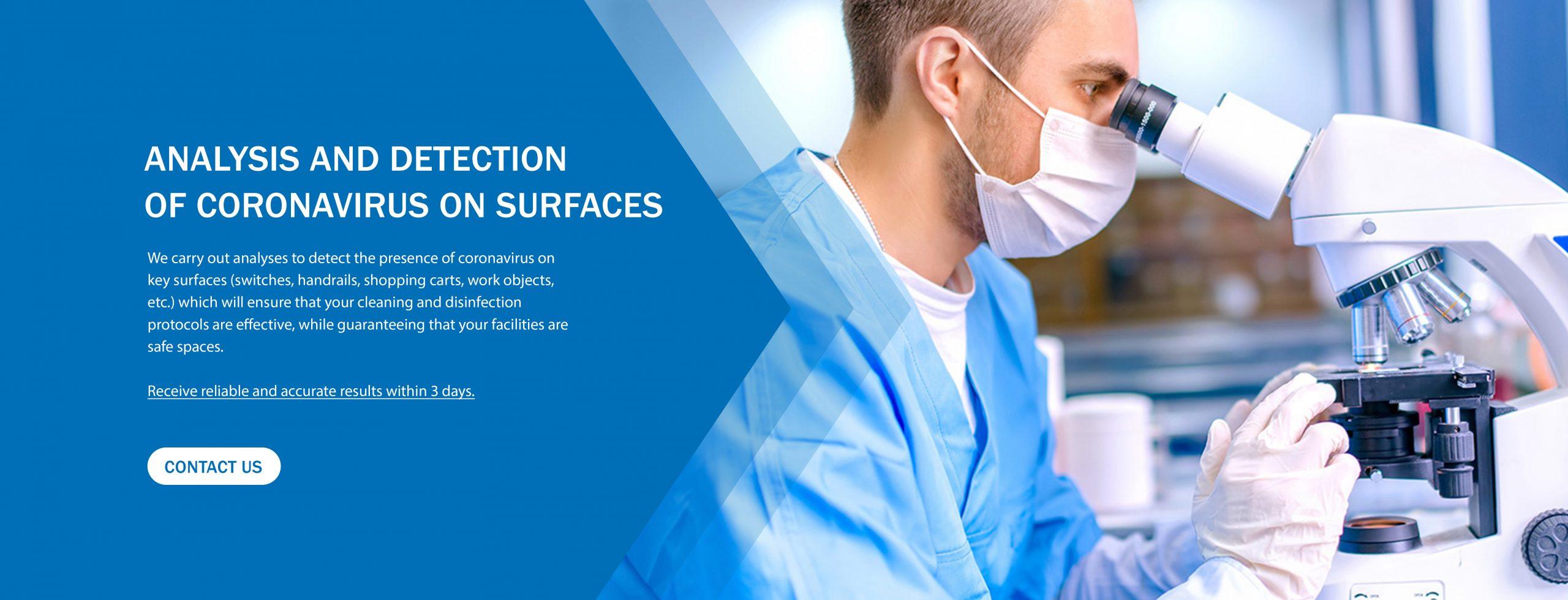 Analysis and detection of Coronavirus on surfaces